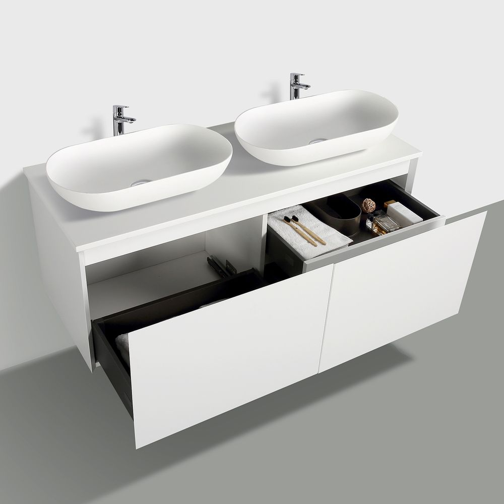 Wall-hung bathroom furniture set Luna 1200 with countertop  - matte white - optional mirror and countertop basin – Bild 3