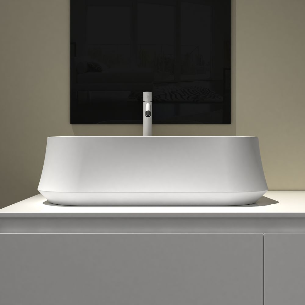 Countertop basin PB2161 of solid stone (Solid Surface) – 60 x 42 x 16 cm –  available in matte or glossy finish  – Bild 2