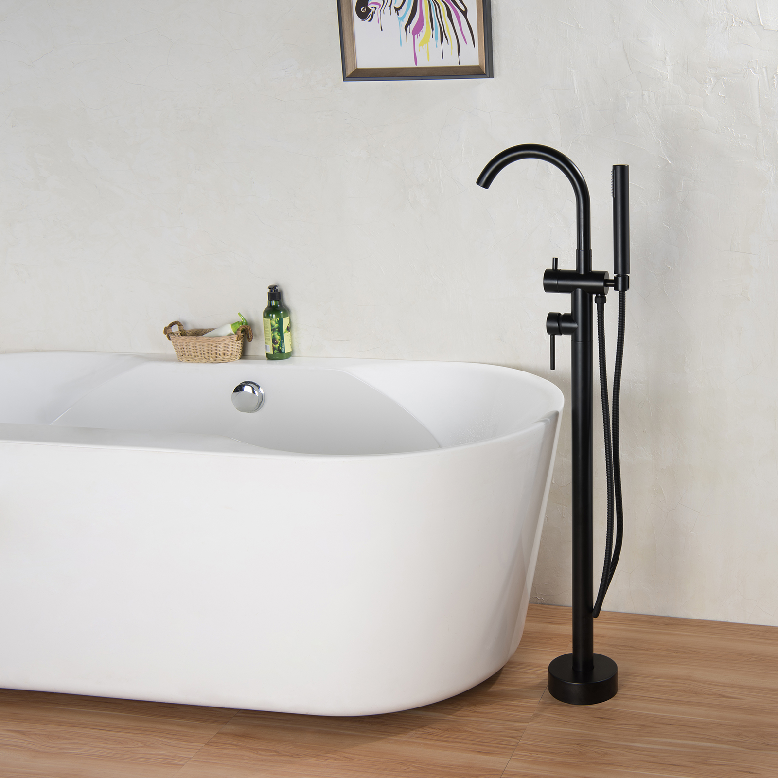Freestanding Bath Shower Mixer Tap 8028b Black