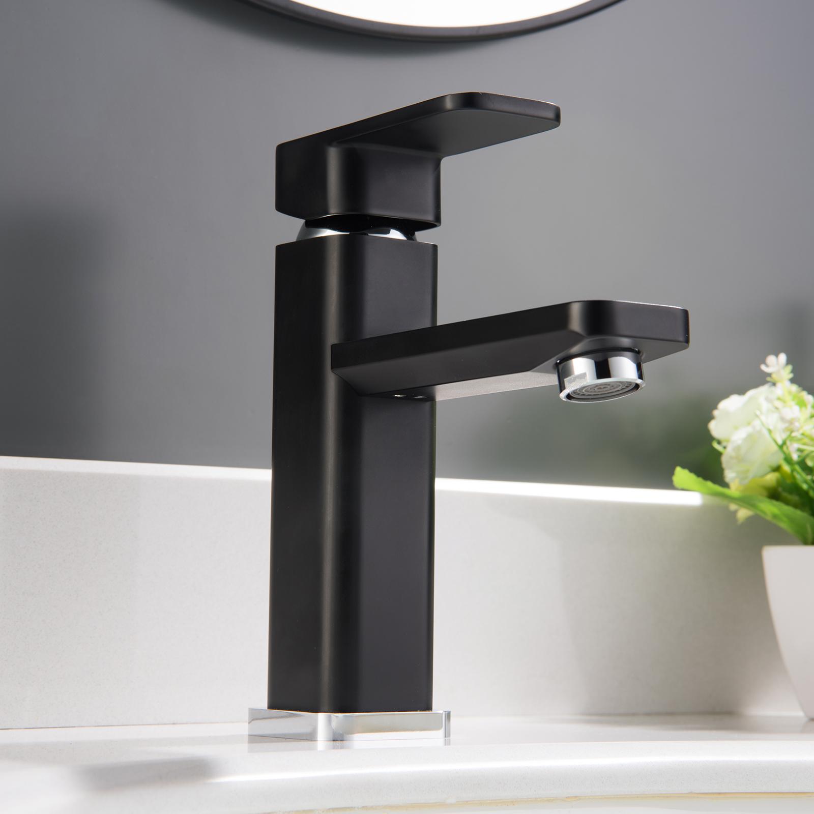 waschtischarmatur badarmatur wasserhahn 1233cb in chrome schwarz badewelt badarmatur. Black Bedroom Furniture Sets. Home Design Ideas