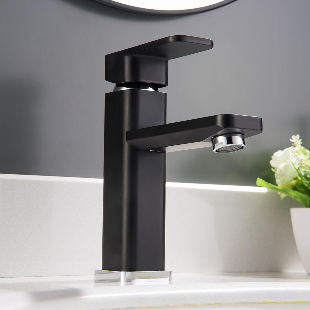 Waschtischarmatur Badarmatur Wasserhahn 1233CB in Chrome / Schwarz – Bild 1