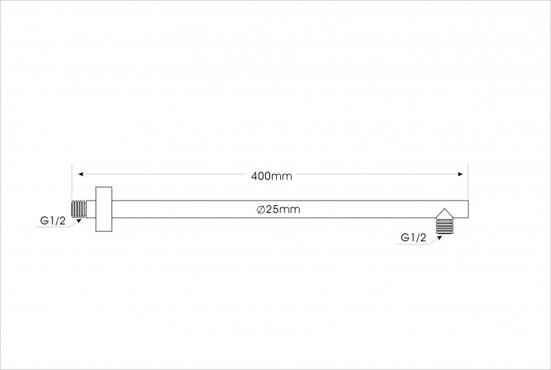 Wall mounted shower arm 40cm black 2633B  – Bild 2