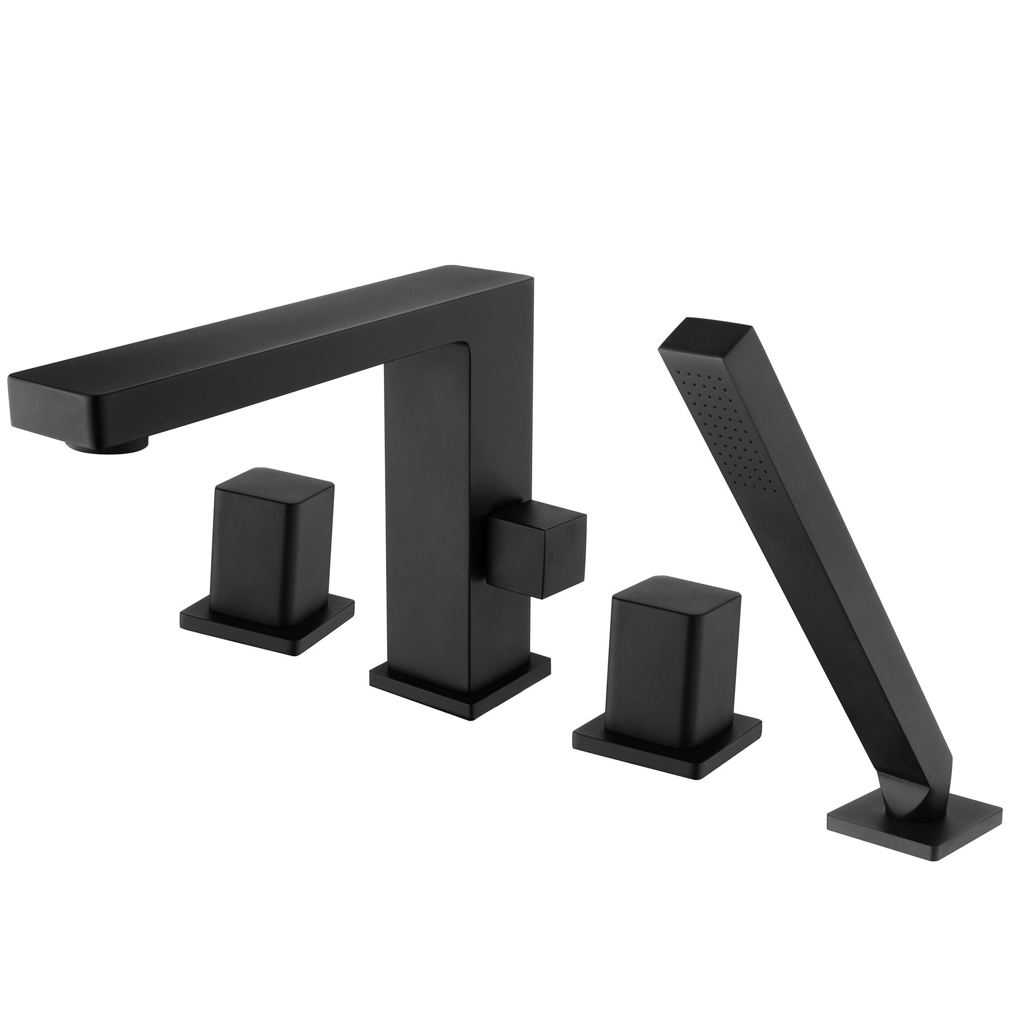 Robinet mitigeur design en noir pour montage sur bord de baignoire 4 trous 6081B