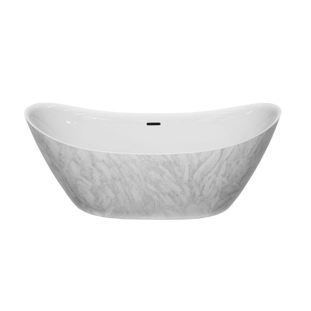 Freestanding bathtub SIENA - sanitary acrylic with marble finish - 173 x 73 x 75 cm - optional taps – Bild 3