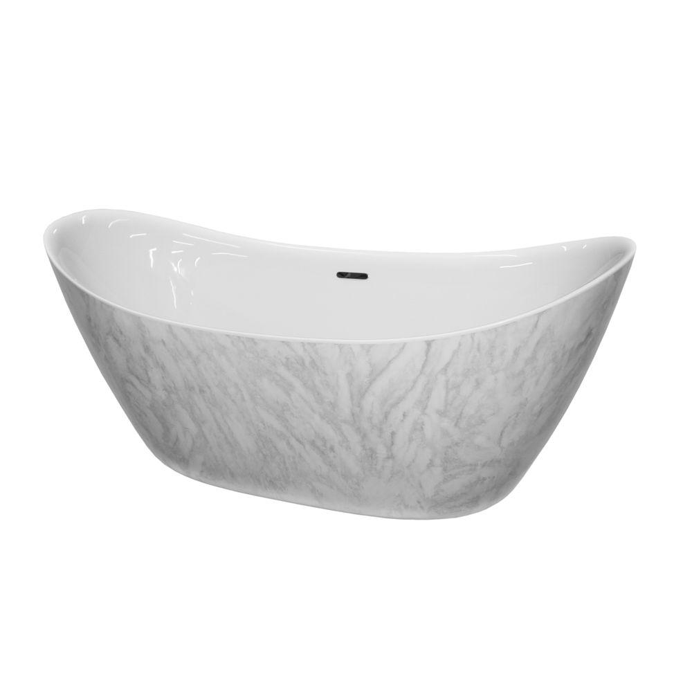 Freestanding bathtub SIENA - sanitary acrylic with marble finish - 173 x 73 x 75 cm - optional taps – Bild 2