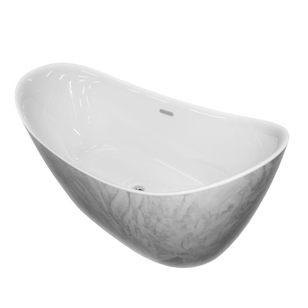 Freestanding bathtub SIENA - sanitary acrylic with marble finish - 173 x 73 x 75 cm - optional taps – Bild 1