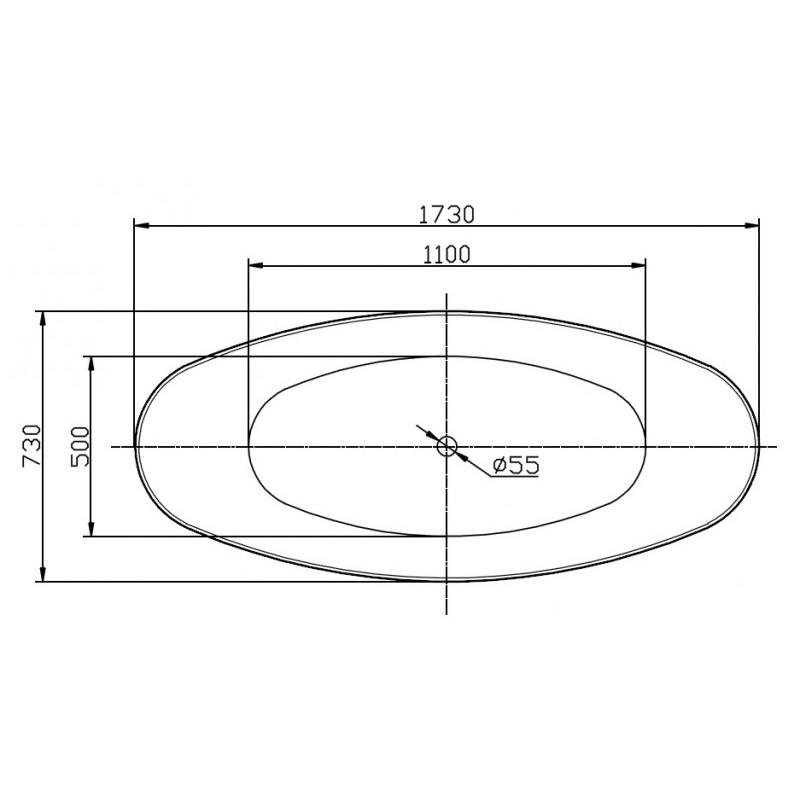 Freestanding bathtub SIENA - sanitary acrylic with marble finish - 173 x 73 x 75 cm - optional taps – Bild 4