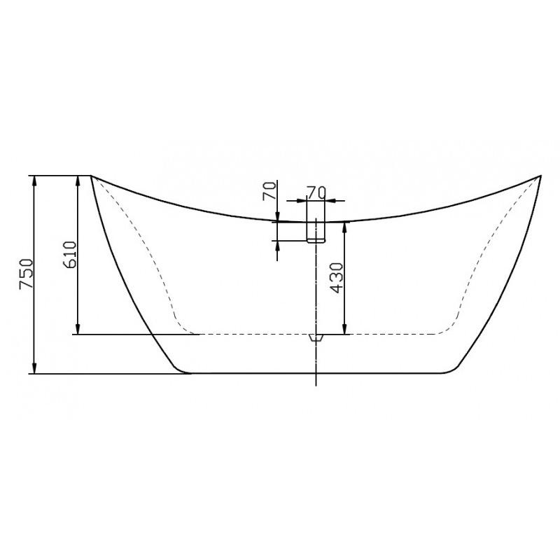 Freestanding bathtub SIENA - sanitary acrylic with marble finish - 173 x 73 x 75 cm - optional taps – Bild 5