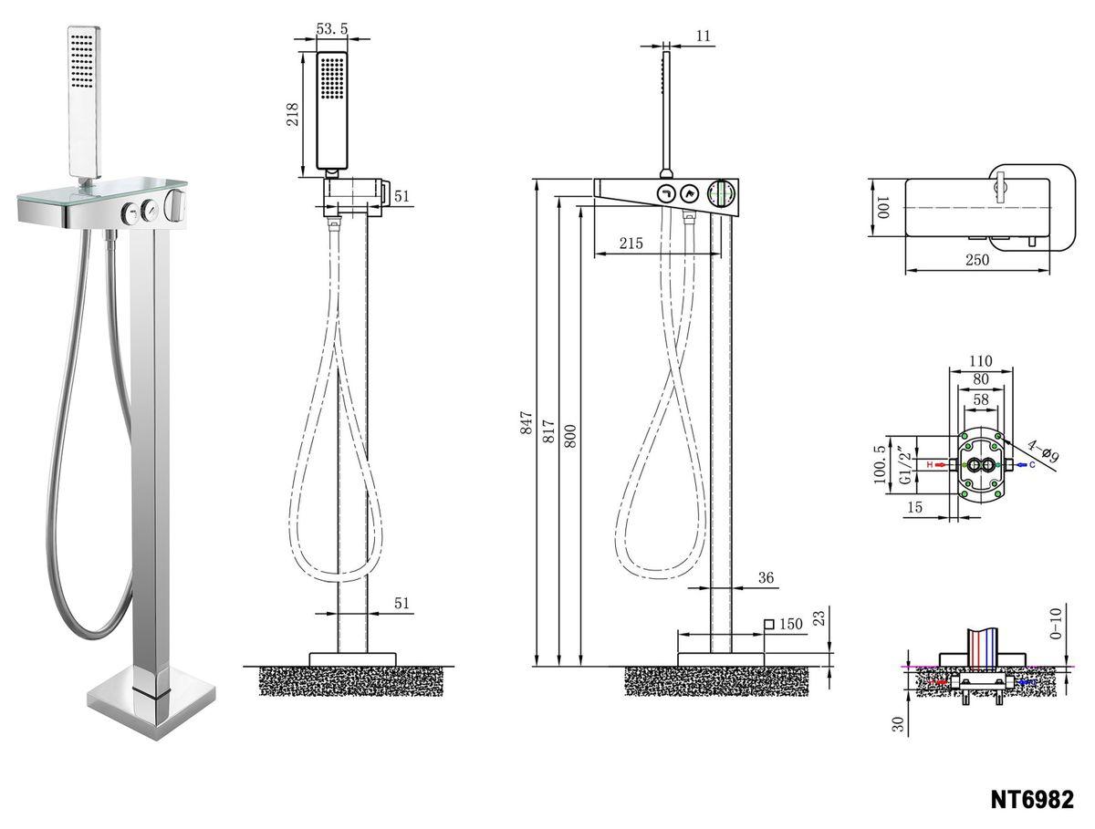 Freestanding bathtub SIENA - sanitary acrylic with marble finish - 173 x 73 x 75 cm - optional taps – Bild 6