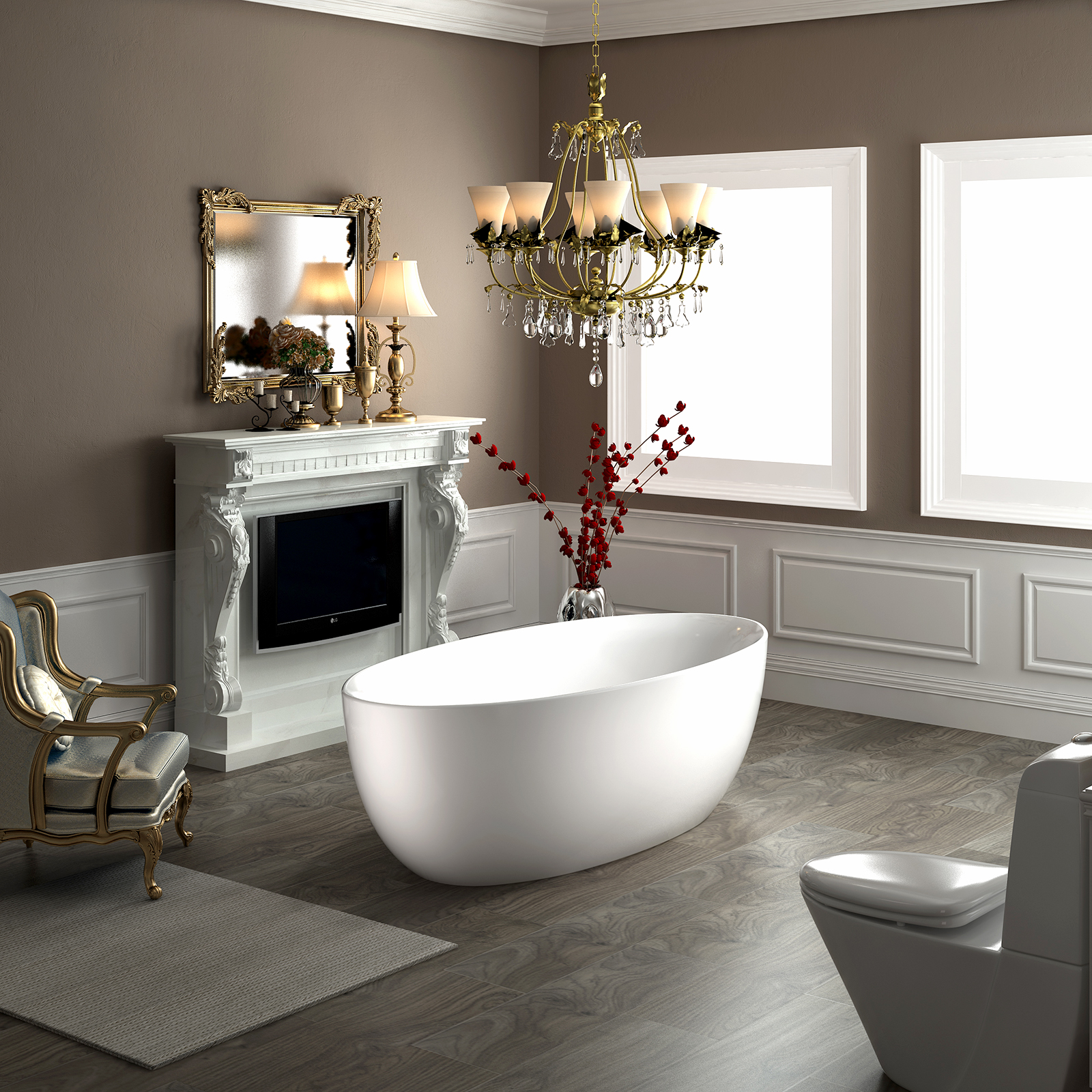 Freistehende badewanne terra acryl wei matt 186 x 88 x 60 cm standarmatur w hlbar badewelt - Standarmatur freistehende badewanne ...