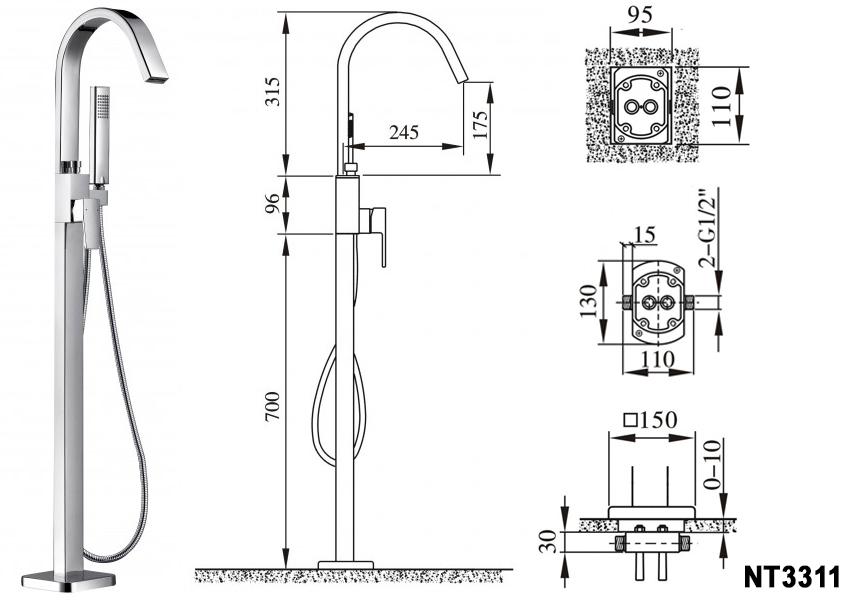 Freistehende Badewanne TERRA Acryl Weiß matt - 186 x 88 x 60 cm - Standarmatur wählbar – Bild 10