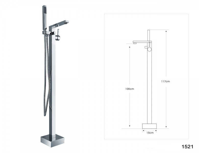 Freestanding bathtub VICE of sanitary acrylic - 183,5 x 78,5 x 77 cm - optional tap and colour – Bild 11