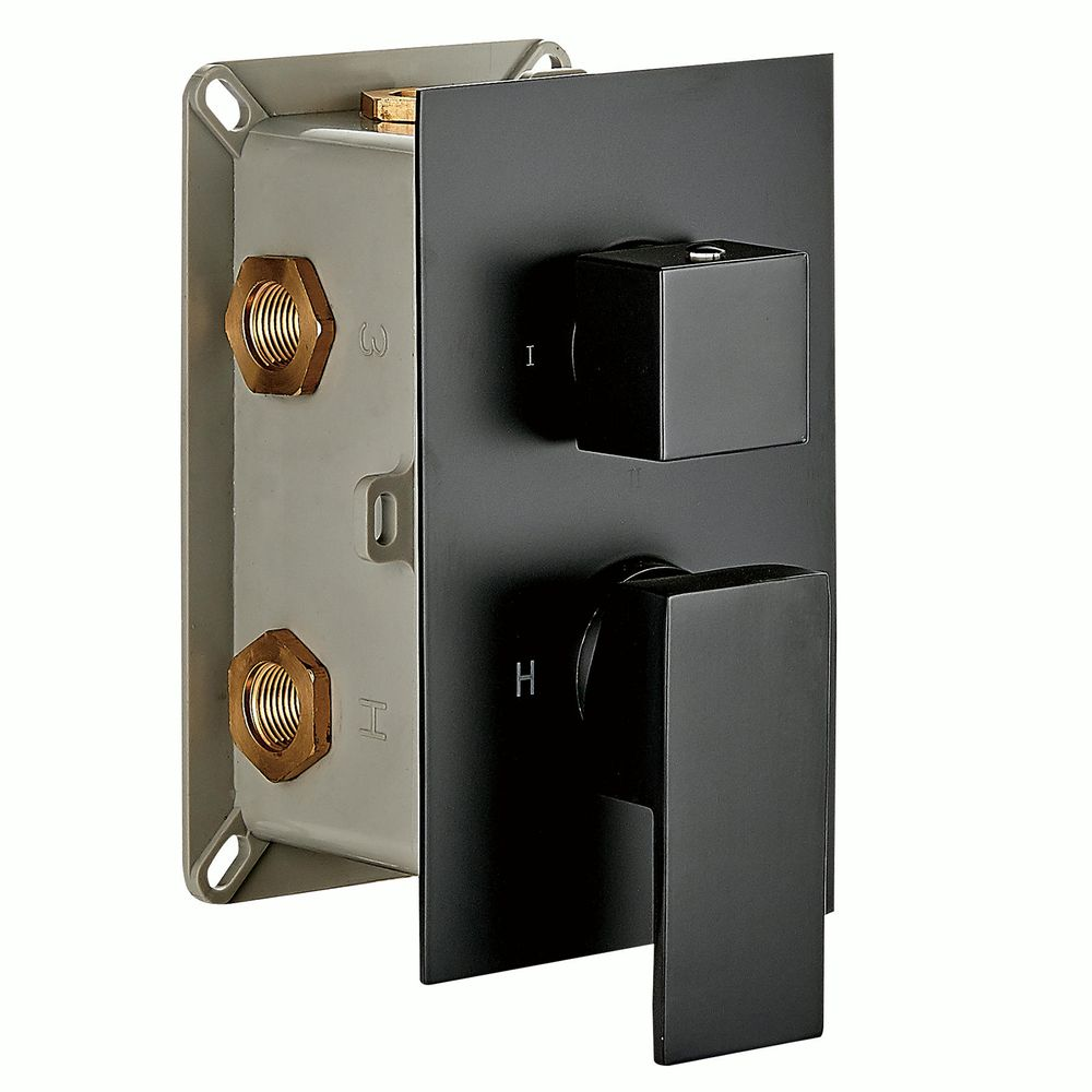 Black Concealed Thermostatic Shower Mixer UP 13-02 with 3-way diverter - squared handles  – Bild 2