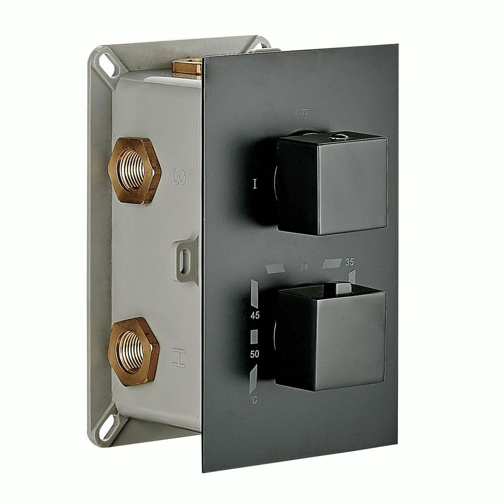 Black Concealed Thermostatic Shower Mixer UP 12-02 with 3-way diverter - squared handles  – Bild 2