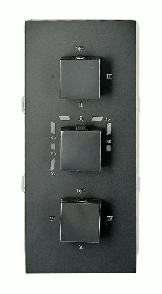 Black Concealed Thermostatic Shower Mixer UP 11-02 with 6-way diverter - squared handles  – Bild 1