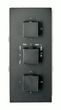 Black Concealed Thermostatic Shower Mixer UP 11-02 with 6-way diverter - squared handles