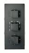 Edle Thermostat-Unterputz-Duscharmatur UP11-02 schwarz mit 6 Wege-Umsteller