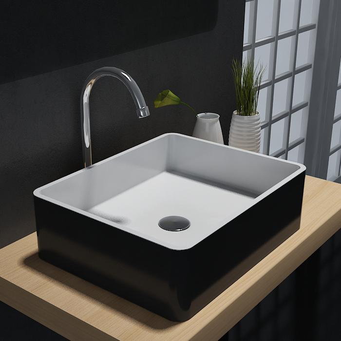 Vasque à poser PB2012B en pierre solide (Solid Stone) – 60 x 40 x15 cm – couleur sélectionnable – Bild 1