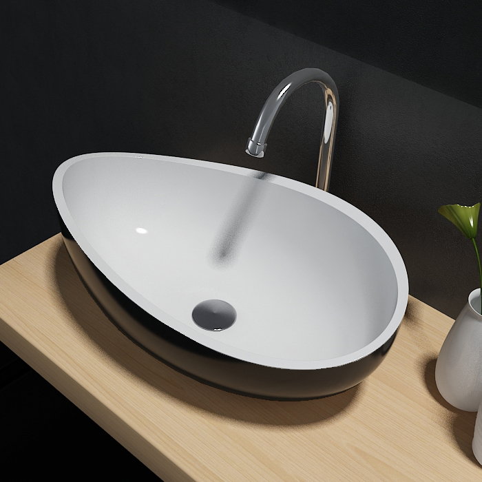 Countertop wash basin Wave PB2001B Solid Stone – 60 x 37 x 21 cm - optional colour
