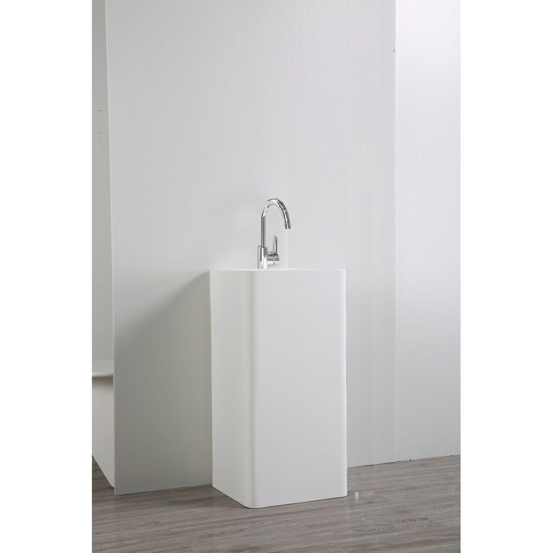 Lavabo colonne totem blanc BS458 en solid surface 45 x 45 x 82 cm Le ...