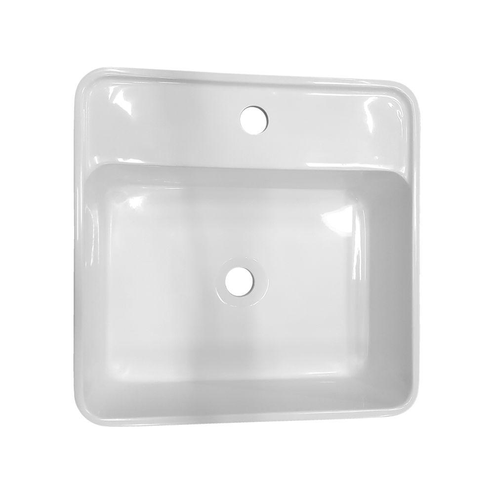 Lavabo colonne totem blanc BS458 en solid surface 45 x 45 x 82 cm – Bild 3