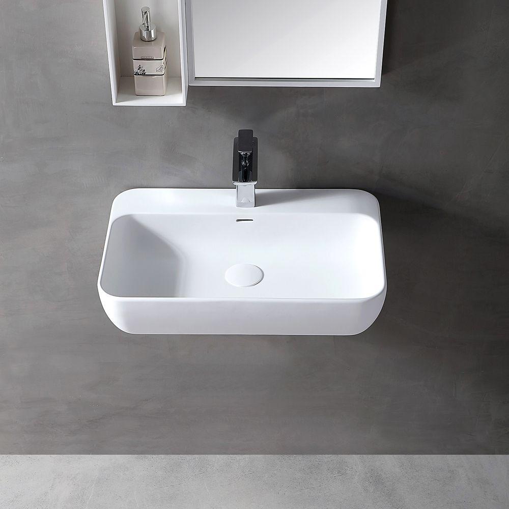 Wandwaschbecken Aufsatzwaschbecken TWG201 aus Mineralguss Solid Stone - Weiß matt - 60x40x14cm – Bild 3