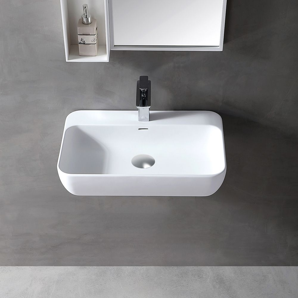 Wandwaschbecken Aufsatzwaschbecken TWG201 aus Mineralguss Solid Stone - Weiß matt - 60x40x14cm – Bild 1