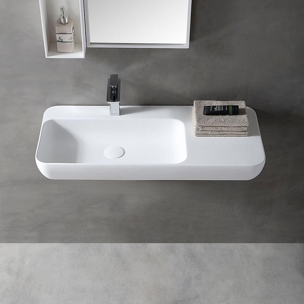 Lavabo mural / vasque à poser TWG202 en solide surface (Solid Stone) - blanc mat - 90x40x12cm – Bild 3