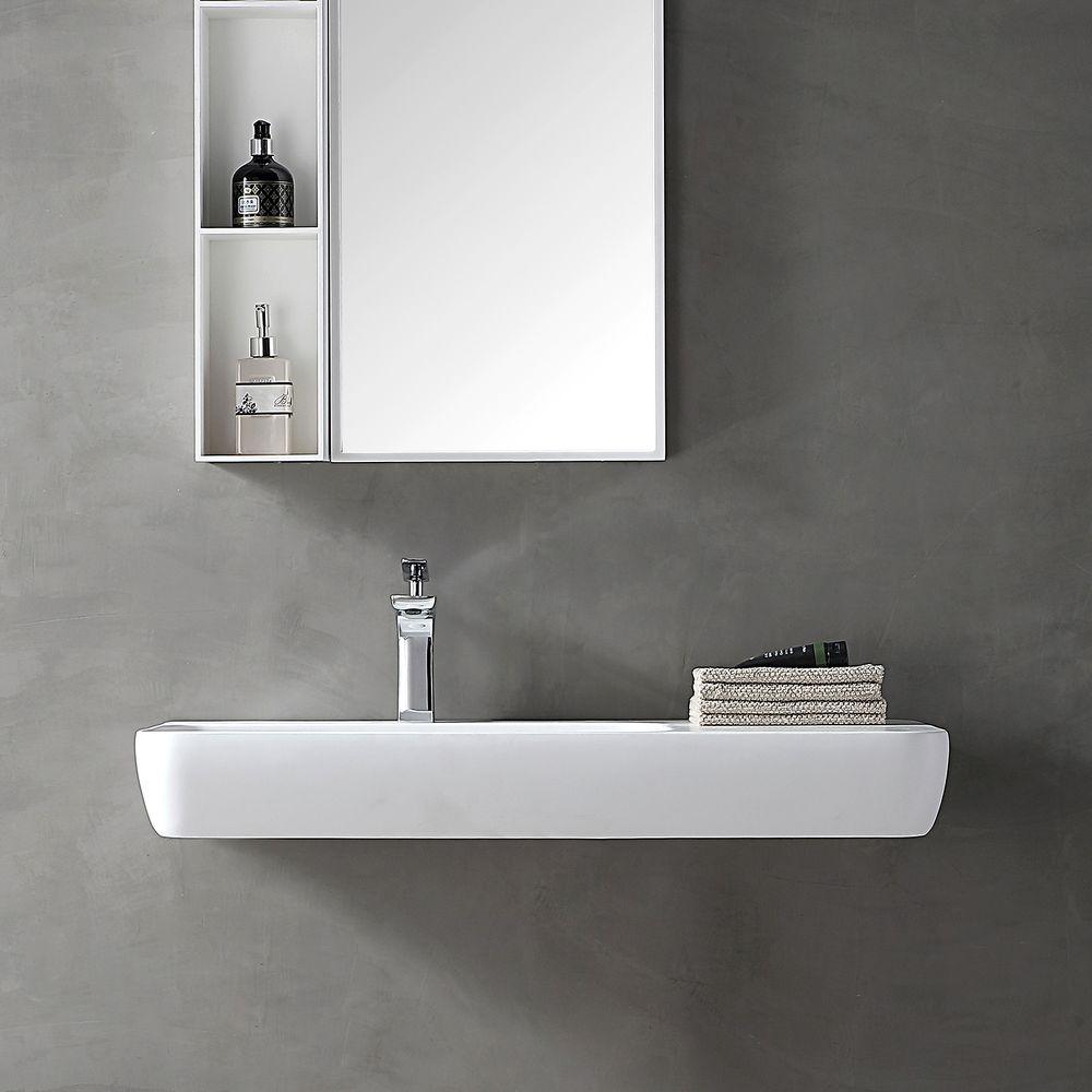 Lavabo mural / vasque à poser TWG202 en solide surface (Solid Stone) - blanc mat - 90x40x12cm – Bild 4