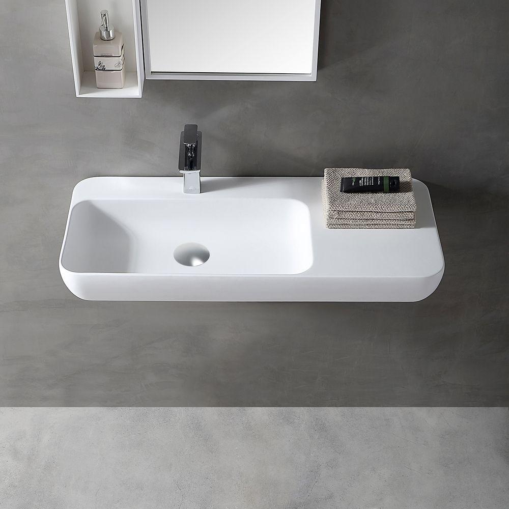 Lavabo mural / vasque à poser TWG202 en solide surface (Solid Stone) - blanc mat - 90x40x12cm – Bild 1