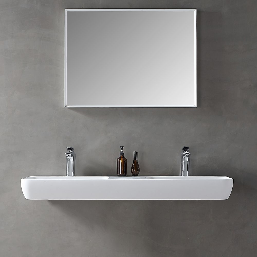 Double countertop / wall-mounted washbasin TWG203 made of Solid Stone -matte white - 120x40x12cm – Bild 4