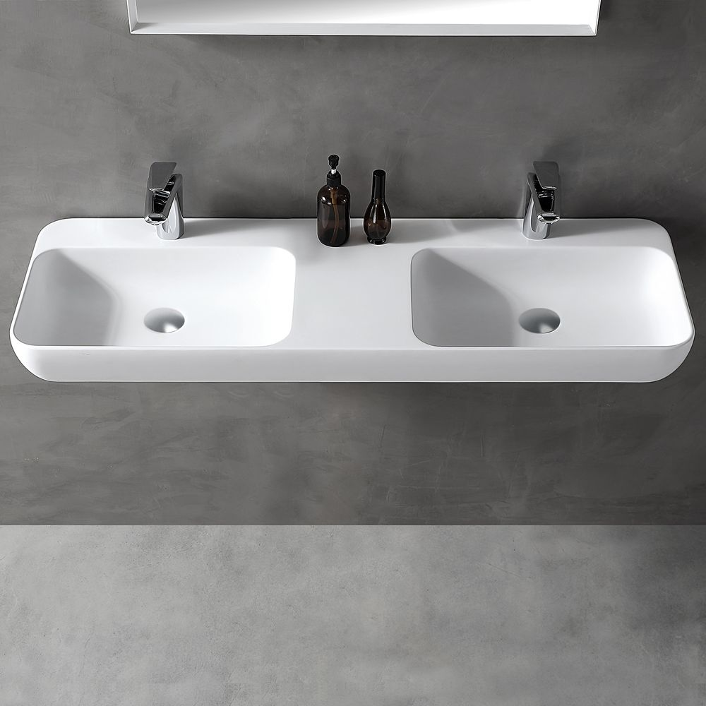 Double countertop / wall-mounted washbasin TWG203 made of Solid Stone -matte white - 120x40x12cm – Bild 1