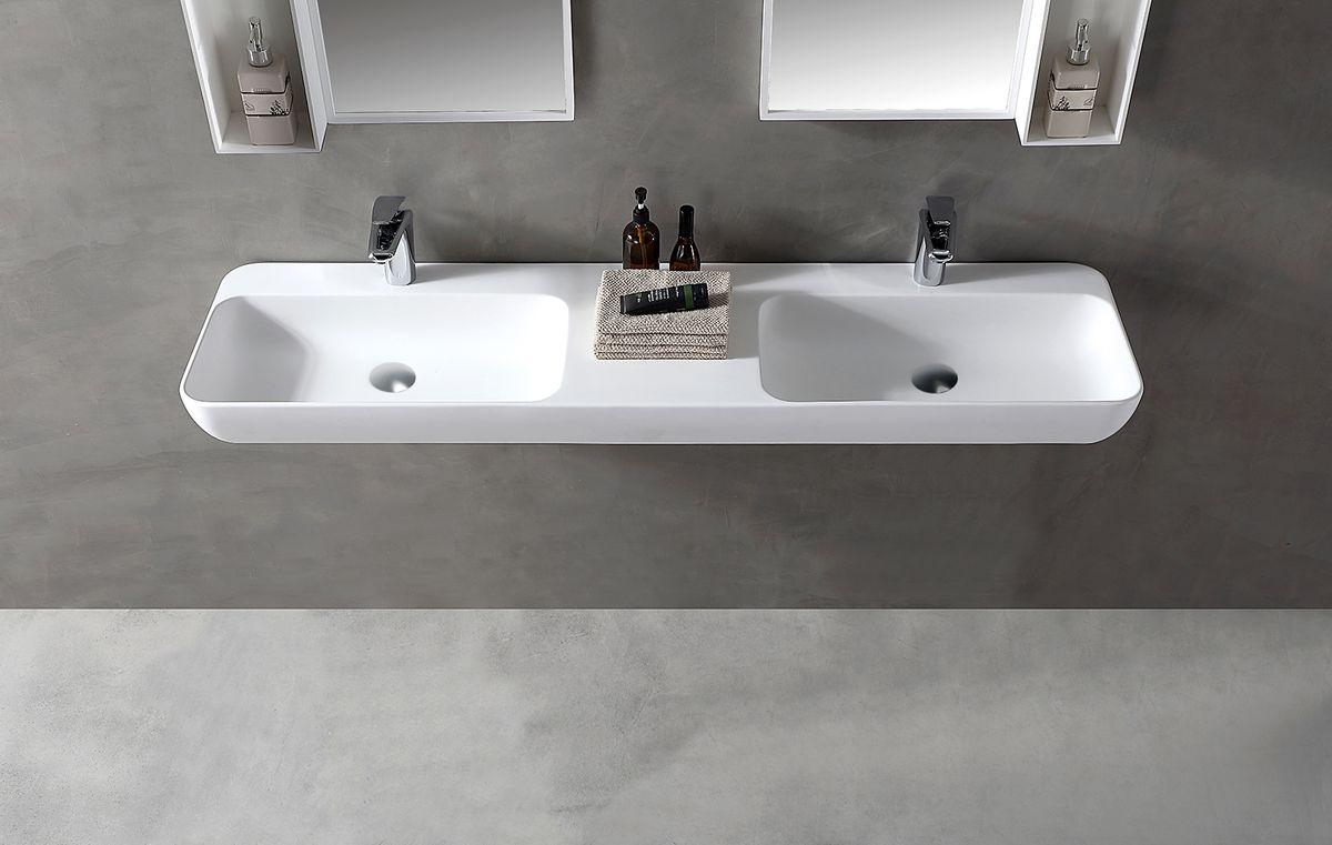 Wandwaschbecken Aufsatzwaschbecken TWG205 aus Mineralguss Solid Stone - Weiß matt - 150x40x12cm – Bild 1
