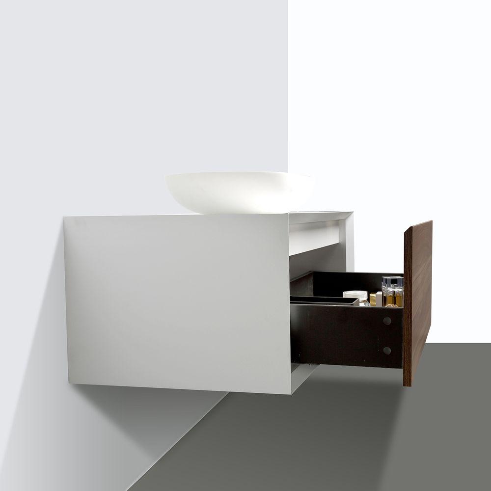 Badmöbel Fiona 900 Weiß matt - Front in Walnuss-Optik - Spiegel und Aufsatzwaschbecken optional – Bild 3