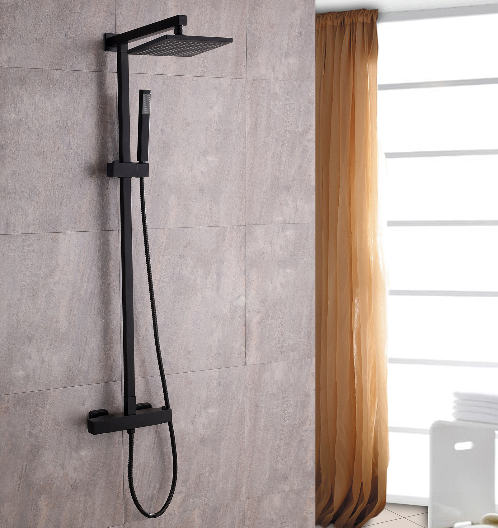 SEDAL Thermostatic Shower system 8921B  Basic- Black - optional square shower head