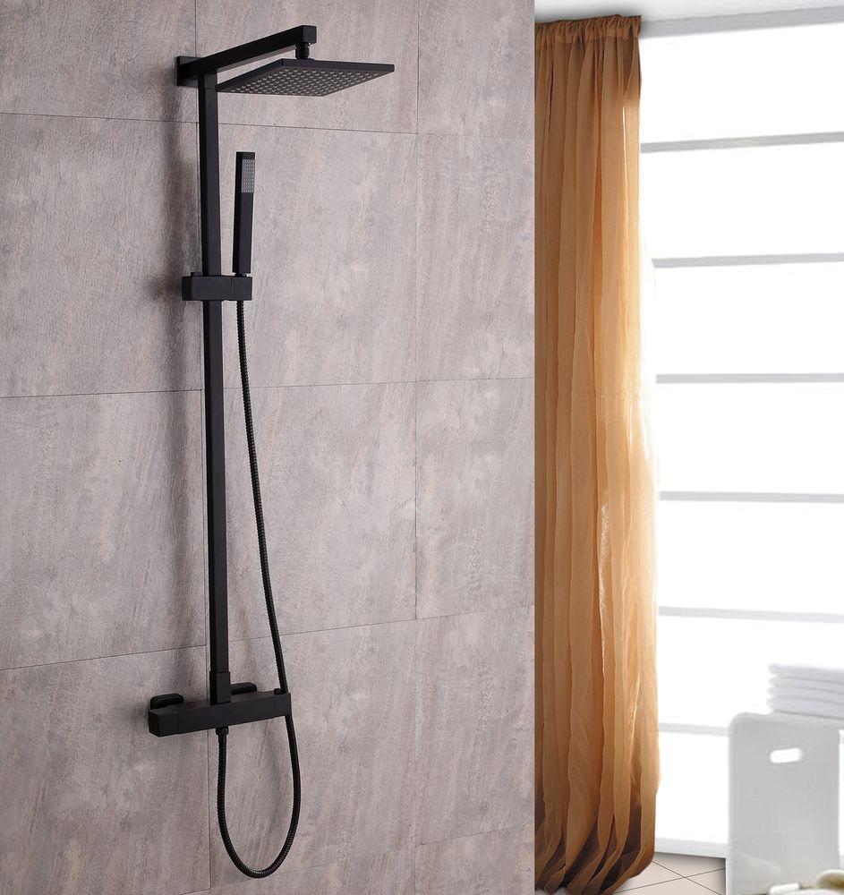 Système de douche combiné thermostatique  SEDAL- 8921B Basic en noir - avec ou sans tête de douche – Bild 1