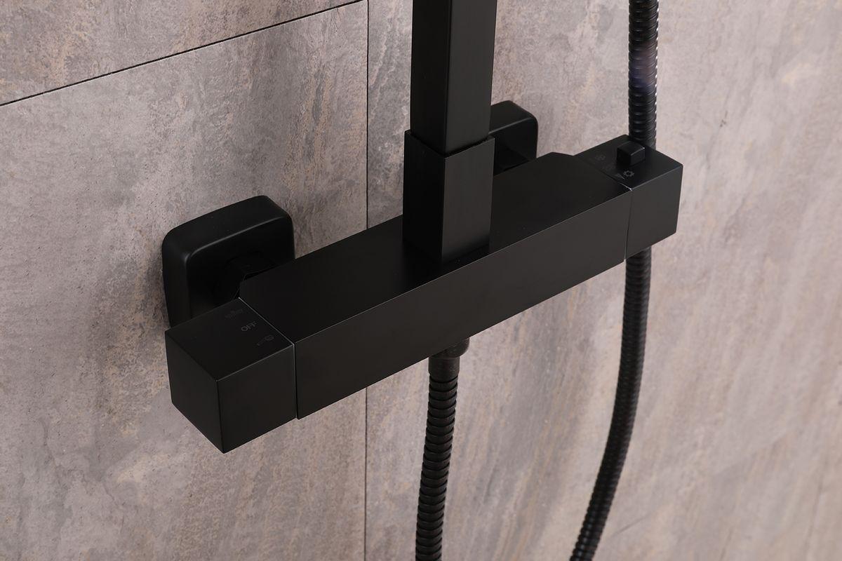 SEDAL Thermostatic Shower system 8921B  Basic- Black - optional square shower head  – Bild 3