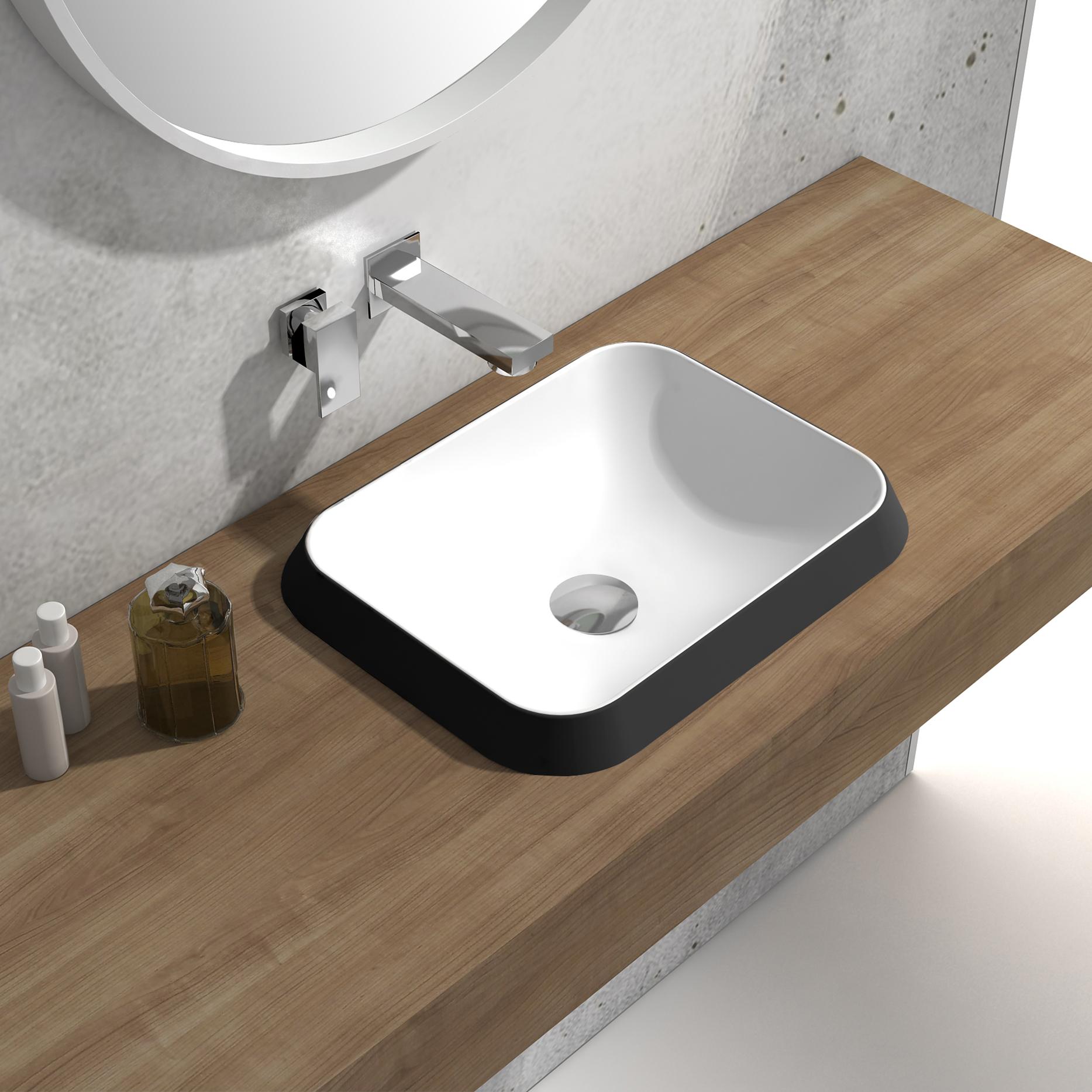 Vasque encastrable en pierre solide NT503 - en blanc matt, noir ou ...