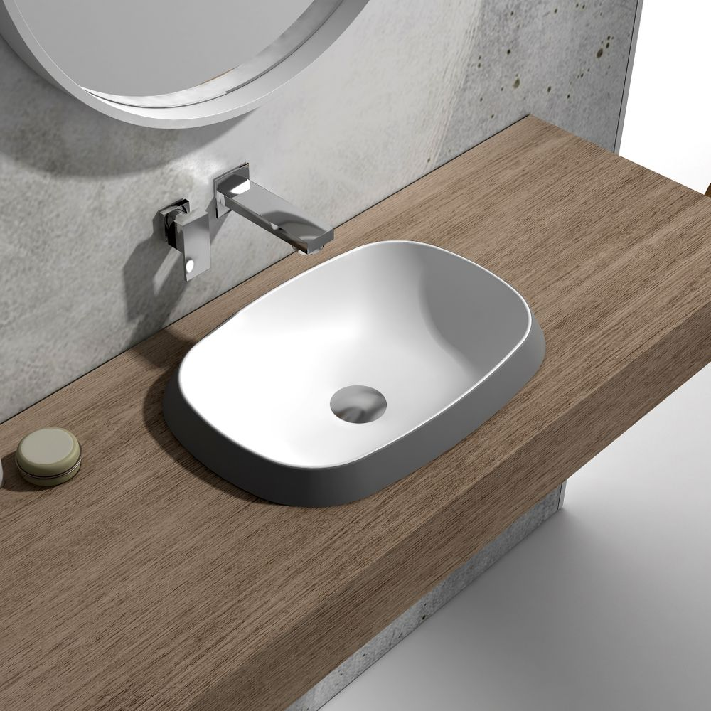 Built-in washbasin NT504 - Solid Stone - matte white, black or grey - 50 x 38 x 12 cm – Bild 1