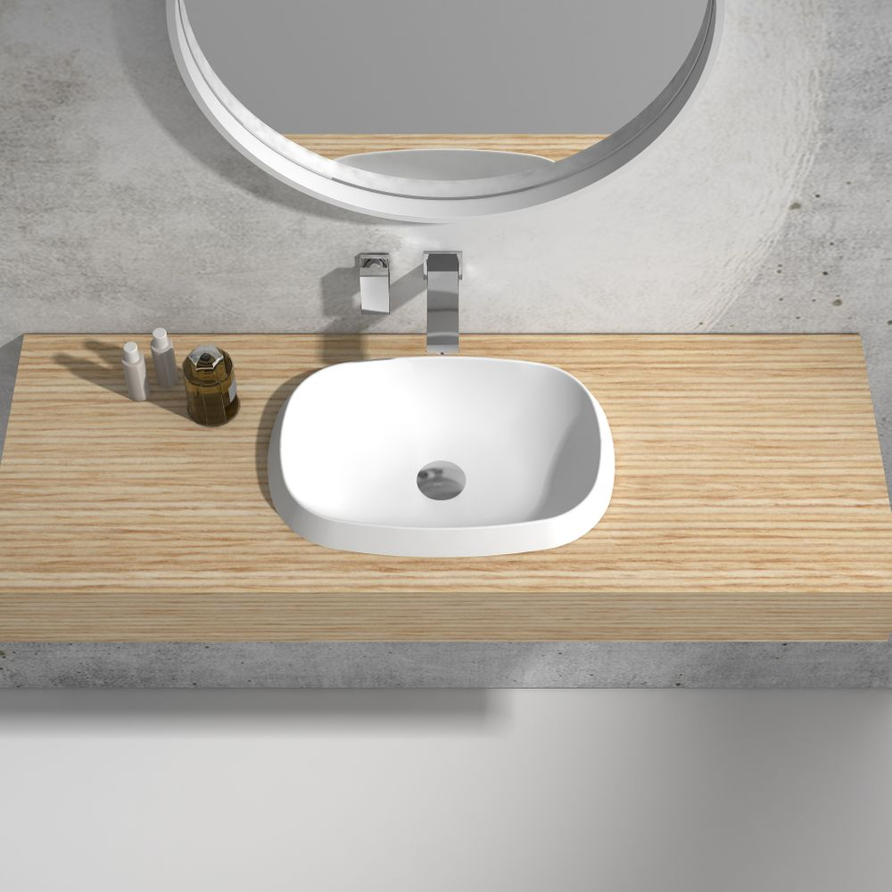 Built-in washbasin NT504 - Solid Stone - matte white, black or grey - 50 x 38 x 12 cm – Bild 4
