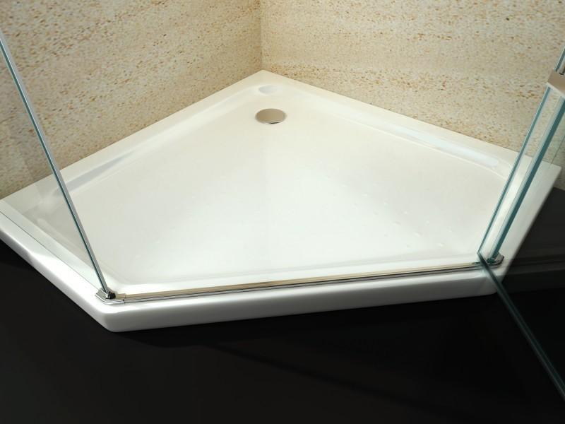 Duschtasse Duschwanne Fünfeck Acryl - 100 x 100 cm - inkl. Ablaufgarnitur – Bild 1