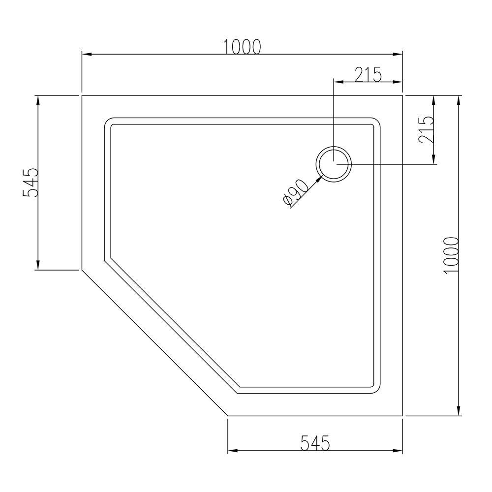Duschtasse Duschwanne Fünfeck Acryl - 100 x 100 cm - inkl. Ablaufgarnitur – Bild 2