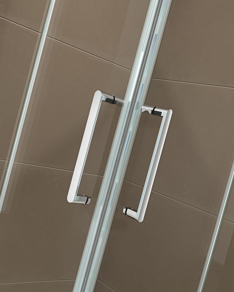 Corner shower enclosure  EX809 - frameless - 6mm tempered glass NANO coating - 80 x 80 x 195 cm – Bild 5