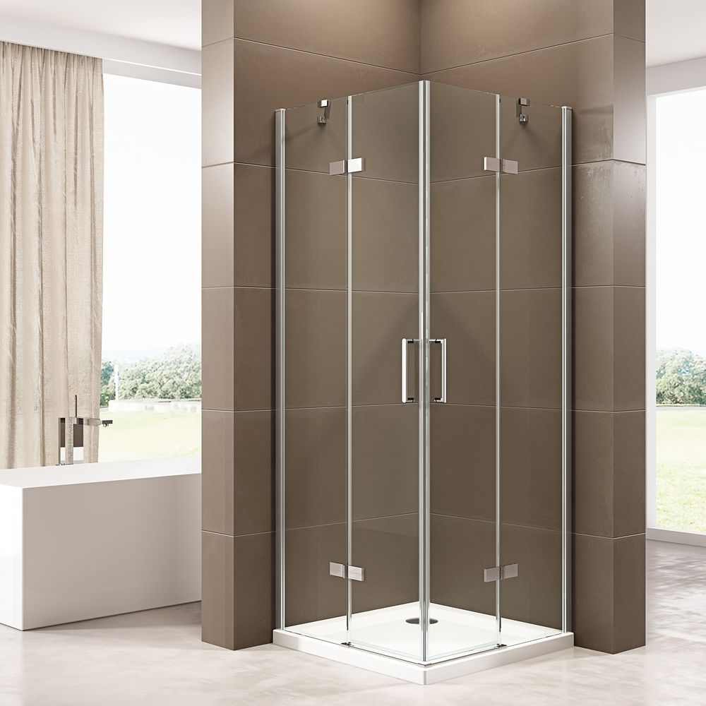 Corner shower enclosure  EX809 - frameless - 6mm tempered glass NANO coating - 100 x 100 x 195 cm – Bild 1