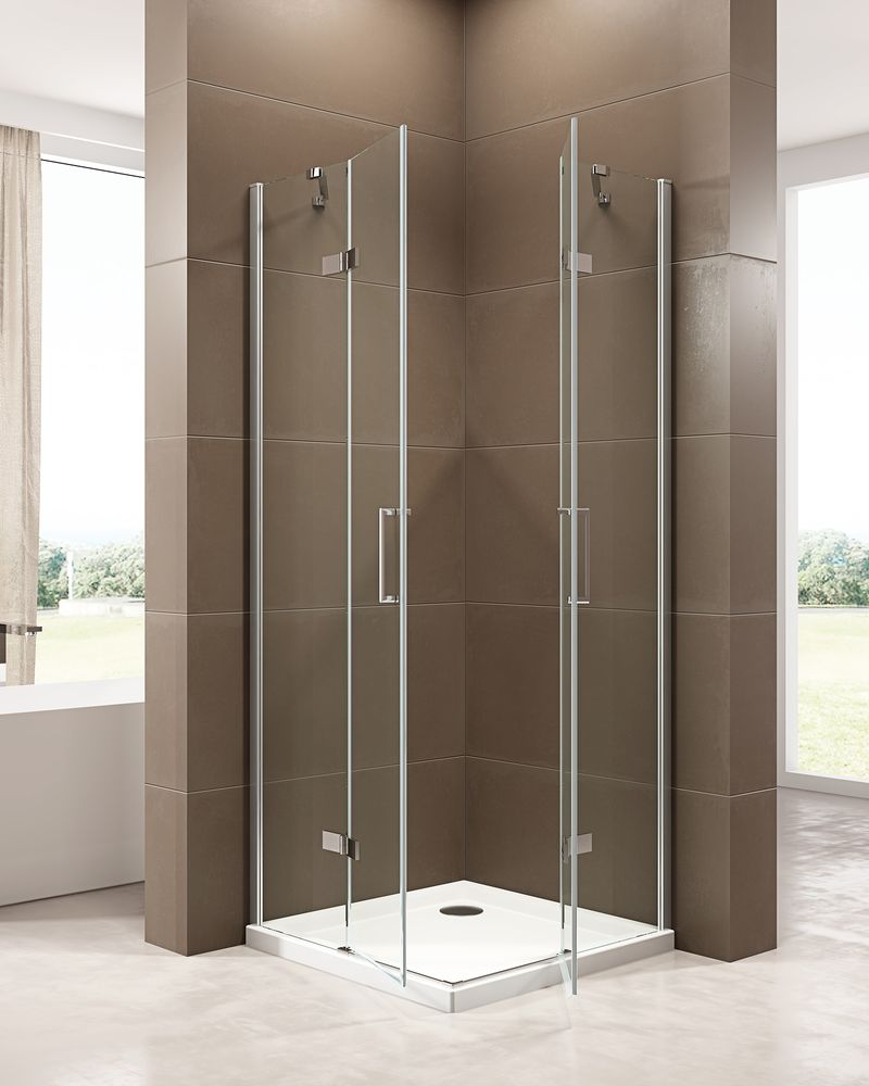 Corner shower enclosure  EX809 - frameless - 6mm tempered glass NANO coating - 100 x 100 x 195 cm – Bild 2