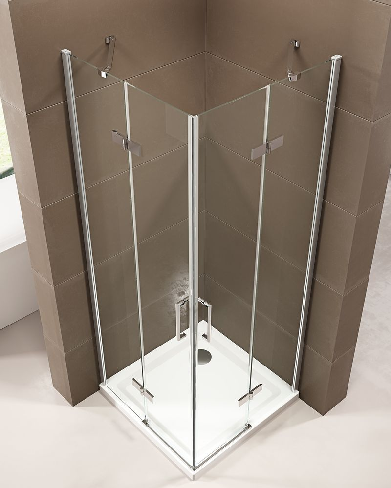 Corner shower enclosure  EX809 - frameless - 6mm tempered glass NANO coating - 100 x 100 x 195 cm – Bild 3