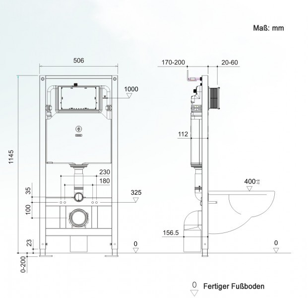 Wall Hung WC  without flushing rim - special saving package 1: NT2038 - and support frame G3004A  with flush plate  – Bild 7