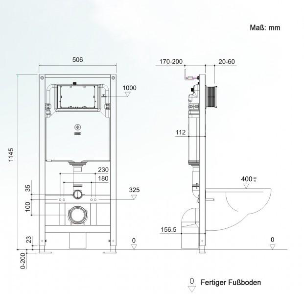 WC-Sparpaket 1: WC NT2038 und Soft-Close Sitz mit Vorwandelement G3004A und Betätigungsplatte vorne – Bild 7