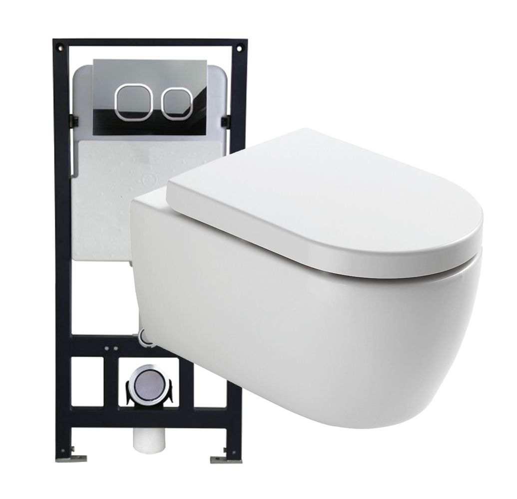 Wall Hung WC  without flushing rim - special saving package 1: NT2038 - and support frame G3004A  with flush plate  – Bild 1