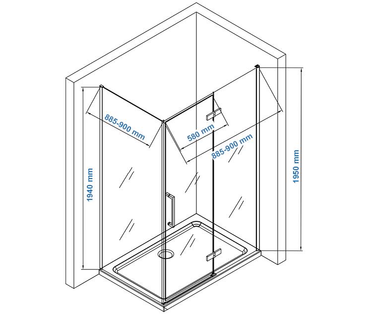 Paroi de douche fixe et porte pivotante en verre NANO transparent - EX409 - 90 x 90 x 195 cm – Bild 9